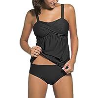 OLIPHEE Femme Sexy Tankini 2 pièces Push-up Bikini Pure Couleur Elégant Maillots de bain avec Slip