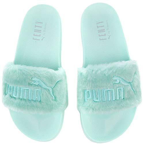 buy popular 12d24 5ec30 PUMA Women's Fenty x Faux Fur Slides, Bay Silver, 8.5 B(M) US