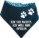 KLEINER FRATZ Gestreiftes Hunde Wende- Halstuch (Fb: Petrol-türkis) (Gr.1 - HU 27-30 cm) Ich Tue Doch Nichts Ich Will Nur Spielen