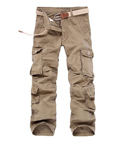 ZKOO Uomo Cargo Pantaloni con Multi Tasche Uomini Sportivi Cotone Lungo Pantaloni da Lavoro Jogger Pantaloni Calzoni All'aperto Casual