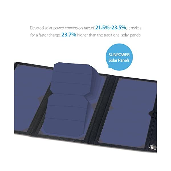 BigBlue 28W Solar Charger Foldable Outdoor Solar Powered Charger With SunPower Solar Panels Dual USB Ports for iPhone iPad Samsung Galaxy LG Cellphones and Devices 5