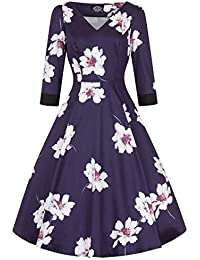 f4aca092fc40 Hearts & Roses London Blue Floral Magnolia Vintage Retro 1950s Flared Tea  Dress