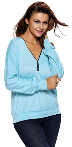 EOZY Tunique Casual Tops Femmes Sweat-Shirt Printemps Col V Blouses Bleu