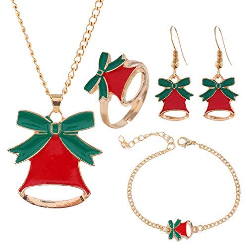 Amosfun Hermoso Campanas Navidad Collar Pulsera Arete