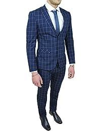 ec4dfd75a0de Abito completo uomo sartoriale blu quadri vestito elegante cerimonia