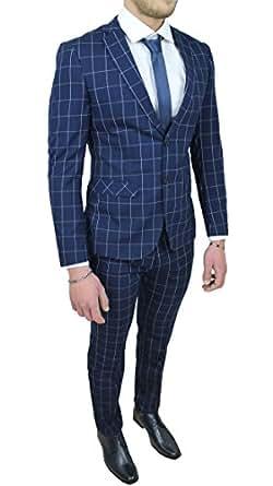 5cfeb8736f61 Abito completo uomo sartoriale blu quadri vestito elegante cerimonia (44)