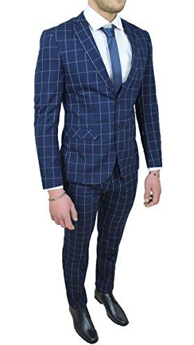 Colore  Grigio. amazon. Abito completo uomo sartoriale blu quadri vestito  elegante cerimonia 6d1120ac1ae
