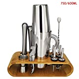 Boccali Birra Set di agitatori for cocktail da bar in acciaio Set di agitatori da bar con set di scaffali in legno 13 pezzi 750 ml / 600 ml (Color : 13Pcs 750 600ml Rack)