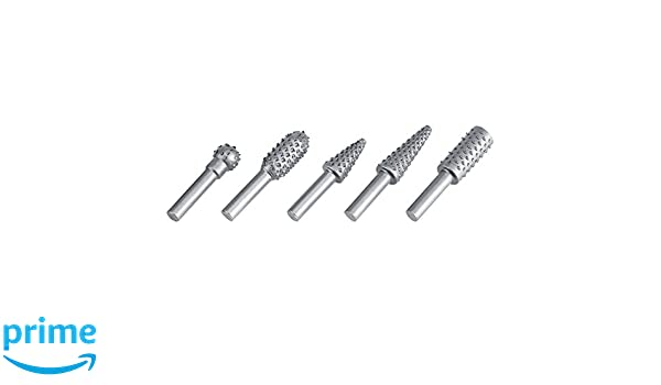 """5pc 1//4/"""" Shank ROTARY RASP FILE SET for Wood Plastic and Soft Metal burr Alloy"""