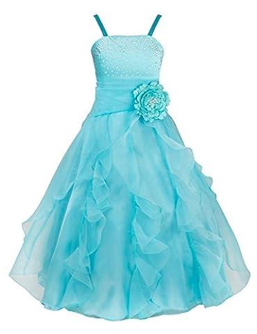 TiaoBug Girls Party Dresses Princess Organza Flower Tutu Wedding Pageant Gown Dress Sky Blue 8 Years