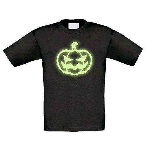 Kinder Halloween Shirt - Kürbis - glow in the dark, schwarz-glow, 134-146