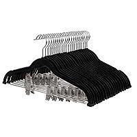 SONGMICS 30 Pack Pants Hangers, Adjustable Clips for Different Sizes 42.5 cm, Trouser Hangers for Heavy Duty, Non-slip, durable, Velvet Coat Skirt Hangers with Trouser Bar, Space Saving