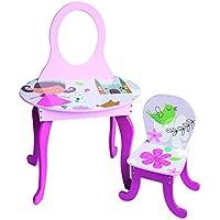 Coiffeuse enfant Motif Girly avec chaise, L 60 x P 38 x H 92 cm -PEGANE-