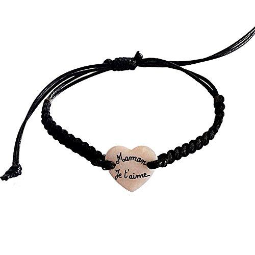 Yves Boucher Bracelet personnalisé, Maman je t aime. Bracelet tressé cœur  nacre b802b1c4adf4
