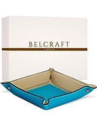 Belcraft Luni Medium Leather Tidy Tray, Handmade Classic Italian Style, Key Wallet, Coin Box, Aqua (19x19 cm)