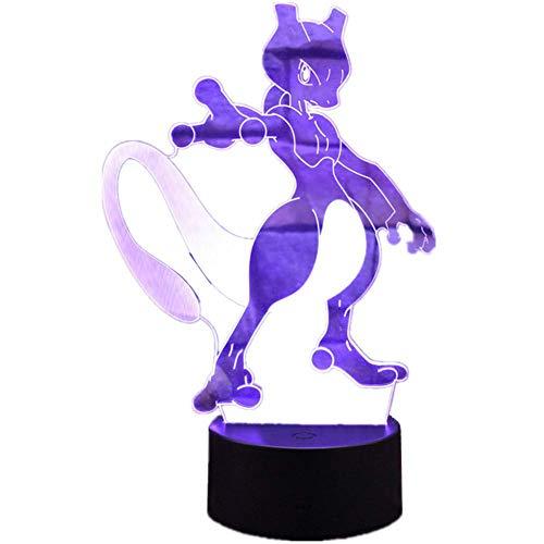 Novelty lamp, 3D Illusion Cartoon Nachtlicht Pokemon Mewtwo Fernbedienung 16 Farbwechsel Acryl LED Tischlampe Dekoration Lampe Raumdekoration USB Stecker & ABS Basis Dekoration Kinder Schlafzimmer Bel (Pokemon-stecker)