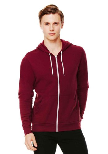 Unisex Poly-Cotton Fleece Full-Zip Hoodie MAROON XL (Maroon Fleece Hoodie)