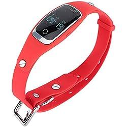 Pssopp Tracker pour Animaux GPS étanche Anti-Perte de localisation Collier de Suivi Chien Chat Mini-Chargeur USB Localisation de GPS Intelligent avec Divers Modes de Travail(Rouge)