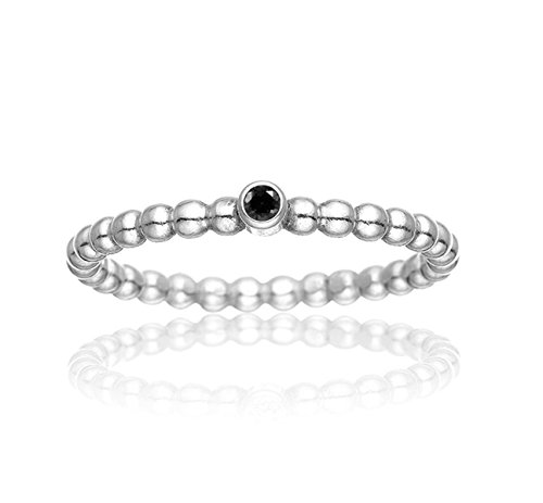 ELEGANCE BLACK DIAMOND Silberring Schwarzer Diamant 925 Sterling Silber handgefertigt by MAJ STOUGAARD (Schwarz Diamant-verlobungsringe,)