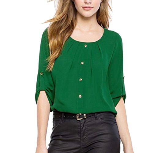 Vovotrade Mode Femmes Chemise Débardeur en Mousseline décontractées Blouse Manches Longues et Courtes à Double Usure Vert