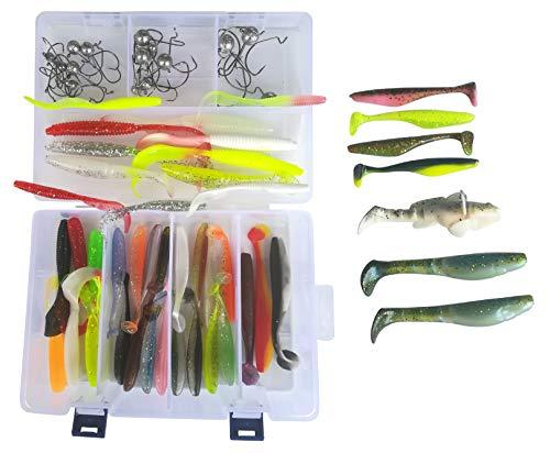 SANDAFishing Spinnfischen Raubfisch Köder Box Relax Kopyto Gummifisch Set 9 10 14 cm Hecht Zander Barsch Gummiköder Angel Zubehör Jigkopf Kunstköder Angeln Profi Angelset Anfänger (Box 79Teile)