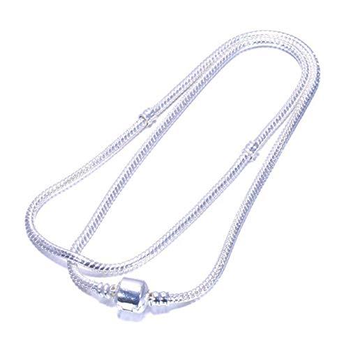 ot Silver Plated 3Mm Basic Snake Chain Fit Pan Bracelet DIY Charms Beads Jewelry Original Bracelets & Bangles Necklace 45cm 18cm ()