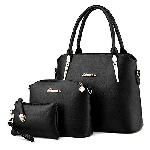 fanhappygo Fashion Retro Leder Abendtaschen Damen Schulterbeutel Umhängetaschen a set schwarz