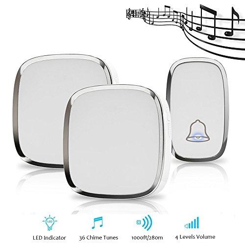 Sonnette de porte, portable Mobile, 2récepteurs 1Emetteur sans fil, bouton de sonnette et