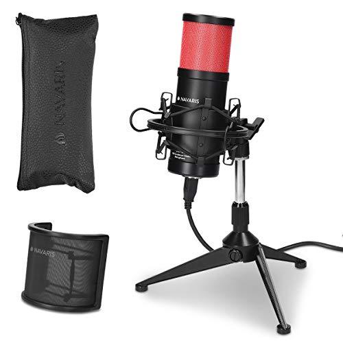 Navaris SM-01 Studio USB Kondensator Mikrofon - mit Popschutz - für Mac Windows - Plug and Play - Nierencharakteristik Standmikrofon Rot-Schwarz (Musik-studio-equipment-set)