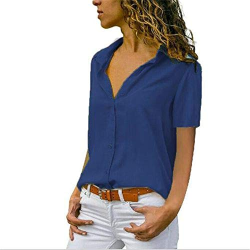 Womens Floral Bluse lose Riemchen kalte Schulter Tops Casual T Shirts Womens Bluse Floral V-Ausschnitt Langarm Casual Fashion Flower Printed Shirt Tops blau S -