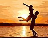 YEESAM ART Neuerscheinungen Malen nach Zahlen für Erwachsene Kinder - Liebe Für immer Sunset Wolke Strand 16 * 20 Zoll Leinen Segeltuch - DIY ölgemälde ölfarben Weihnachten Geschenke