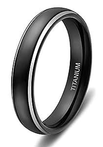 Titanium Rings Black Dome Two Tone Polish Wedding Engagement Band for Men Women (4mm, H)
