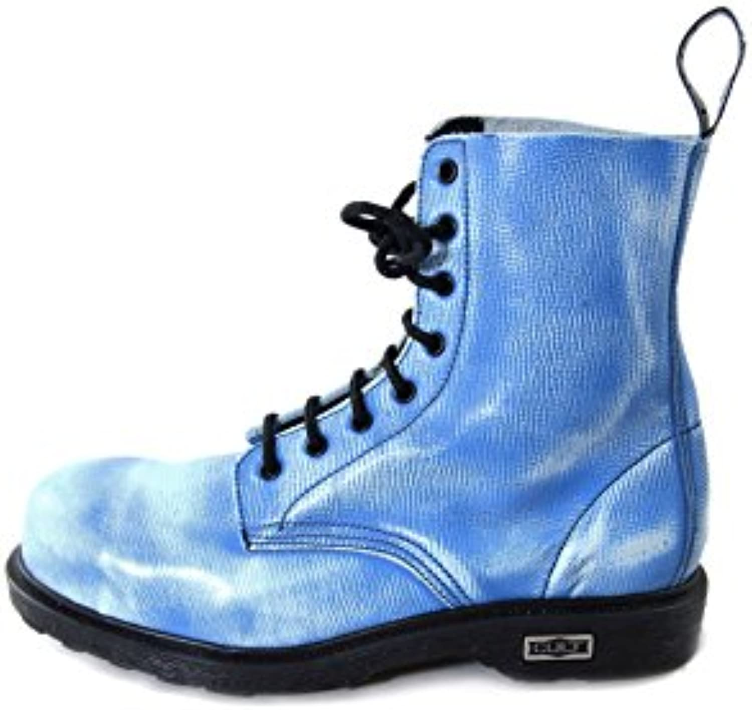Cult Bolt Strike Vintage Leather Boots with Steel Toe Blue and White