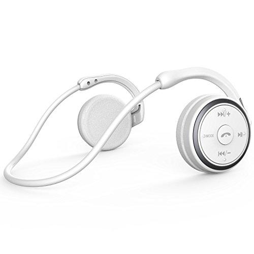 KAMTRON Bluetooth Wireless Kopfhörer Sport - Marathon2 Bluetooth 4.2 Kopfhörer mit Clear Voice Capture Technologie und Echo Cancellation Mikrofon für Gym, Sport, Running, Work, Weiß