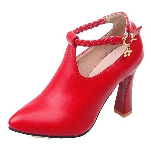Mulheres Voguezone009 Malha Toe Pontas De Salto Alto Blend-primas Fivela Bombas Sapatos Vermelhos