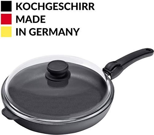 Made in Germany Aluguss Bratpfanne 28 cm Induktion mit Deckel I Hoher Rand I Abnehmbarer Griff I Antihaft beschichtet I 100{52997177f8407514aead2fb5695057e88723b238ec92faa881cb27117c6c569e} PFOA-Frei I Bratpfanne für Bartkartoffeln, Fisch, Fleisch I Fettarm Kochen