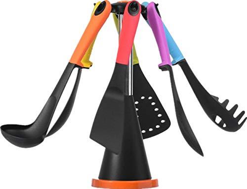 7pcs set di utensili da cucina in silicone, addfun® antiaderente nylon bpa-free silicone strumenti utensili da cucina con supporto girevole 360gradi rainbow