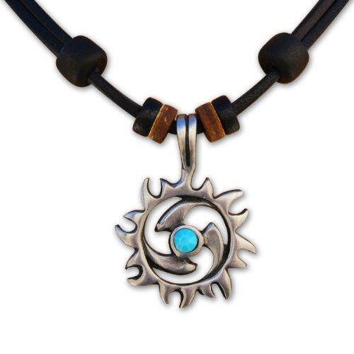HANA LIMA ® Surferkette Lederkette Tribalkette Türkis Halskette Herren Damen Metallanhänger