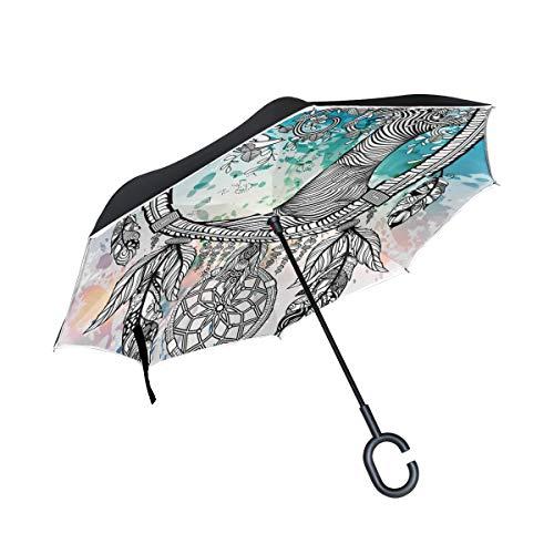 SKYDA Paraguas Plegable de Doble Capa con diseño de árbol atrapasueños con Forma de C