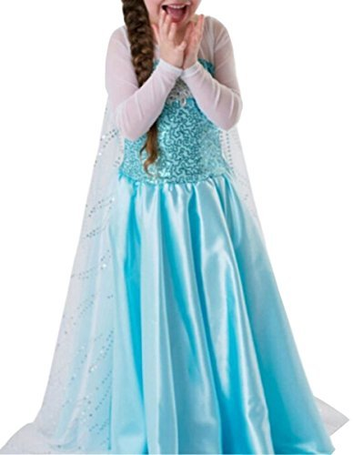 UGET Snow Queen Princess Party Cosplay Costume Girls Dress Up 8 Years