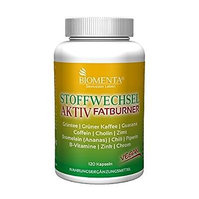 Biomenta métabolisme activement | thé vert+ café vert + caféine + choline + guarana + cannelle + (ananas) bromelaine + piment de cayenne + poivre noir + chrome + zinc + vitamine b | 120 capsules | végétalien