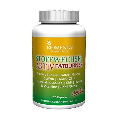 BIOMENTA STOFFWECHSEL AKTIV | mit Grüntee + Grüner Kaffee + Guarana + Koffein + Cholin + Zimt + Bromelain (Ananas) + Piperin + Chili + Chrom + Zink + B-Vitamine | 120 VEGANE Fatburner-Kapseln