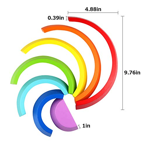 Wooden Rainbow Learning Toy Stacking Game Stacker Geometry Building Educational Puzzle Toy for Kids
