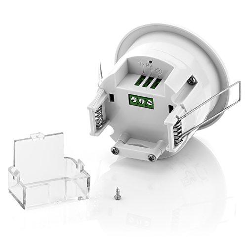 deleyCON Infrarot Decken-Bewegungsmelder – für Innenbereich – 360° Arbeitsfeld – Reichweite bis 6m – einstellbare Umgebungshelligkeit – IP20 Schutzklasse – optimal für Unterputz Deckenmontage – Weiß - 2