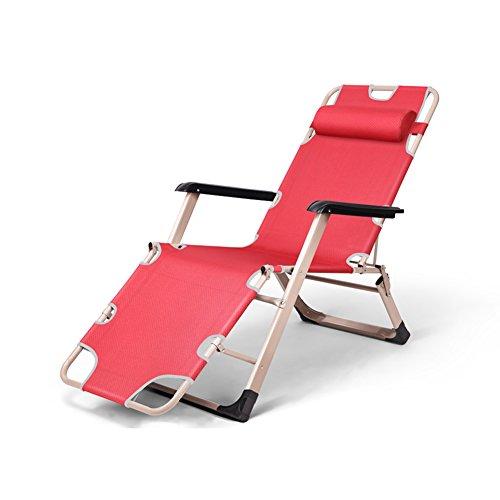 YIXINY Fauteuils inclinable WQB-T871 Jardin des Chaises Longues Recliners Chaise Longue Chaises De Jardin Tout Temps Textoline Multi-Angle Pliable Repose-tête (Couleur : Red)