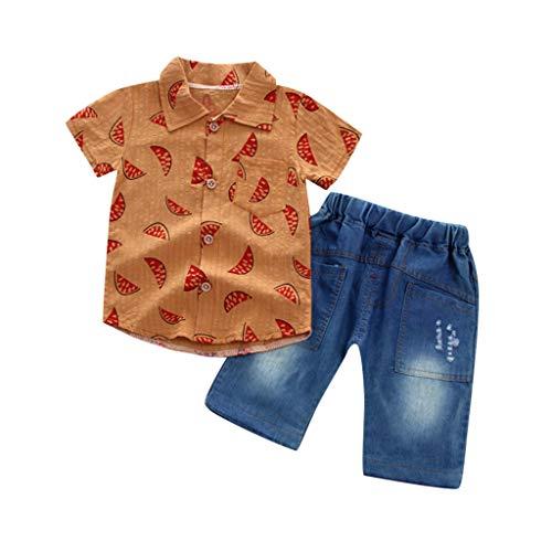 JUTOO Kleinkind Baby Boy Gentleman Wassermelone Kurzarmhemd + Denim Shorts Set Tuch (Gelb 2,120)