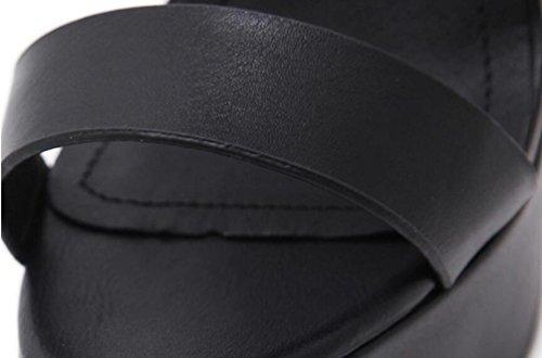 OL pompe cinghie traverse piattaforma 5 cm Stiletto13.5 cm Heel aprire punta fibbia casual Wedding Vintage scarpe UE taglia 35-39 Black