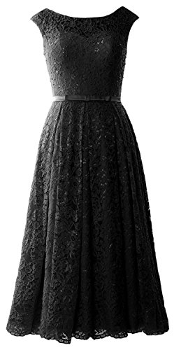 MACloth Caps Sleeve Lace Cocktail Dress Tea Length Wedding Party Formal Gown Black