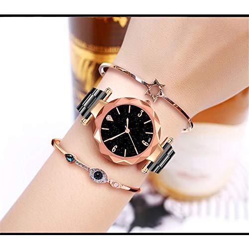 Altsommer Uhren mit Schwarz Zifferblatt,Damen Uhren mit Edelstahl Armband, Damen Herren Uhr,Luxus Business Edelstahl Chronograph Quartz Analog Uhren,Schwarz,Gold,Silver (Schwarz)