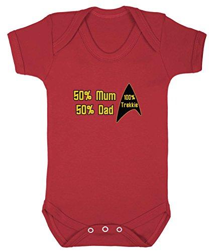 100% Trekkie Babygrow. 6-12 Monate. - Red Trek Shirt Star